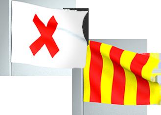 Roja blanca amarilla bandera