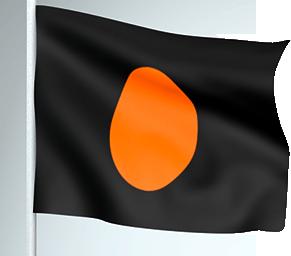 Bandera negra con disco naranja