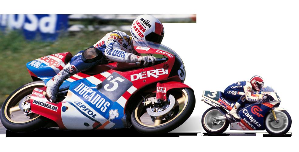 Jorge Martínez Aspar compitiendo en las categorías 80cc y 125cc, y Sito Pons compitiendo en la categoría 250cc