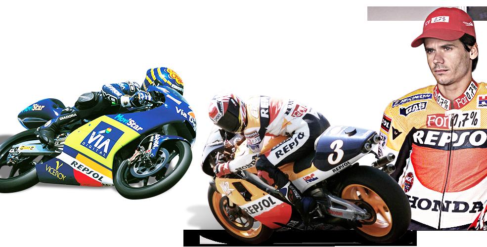 Alex Crivillé compitiendo en la categoría 500cc y Emilio Alzamora compitiendo en la categoría 125cc