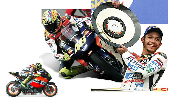 Valentino Rossi compitiendo en la categoría MotoGP