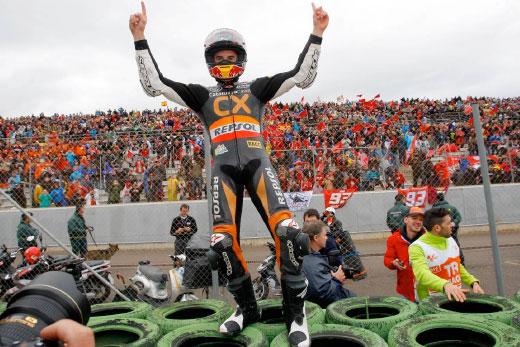 Marc Márquez celebrates victory when on Moto2