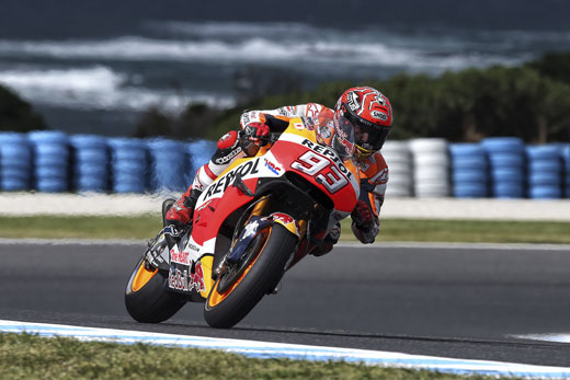 Marc Márquez in action during the qualifying session at the Australia GP