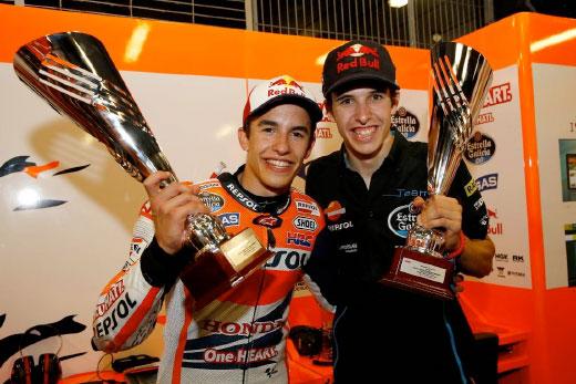 Marc and Álex Márquez show trophies