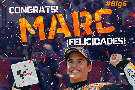 Marc Márquez celebrates 6th world title with giant hand