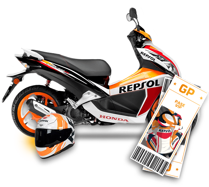 An official Repsol Honda Team moped, a Repsol Team helmet, and two VIP passes