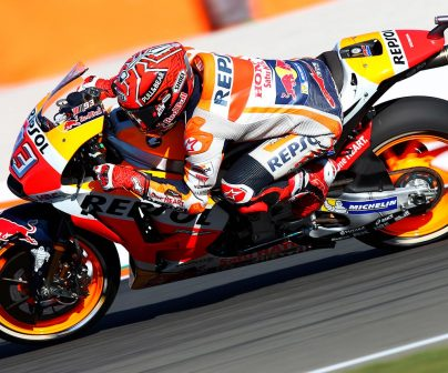 Marc Márquez in action with the RC213V.