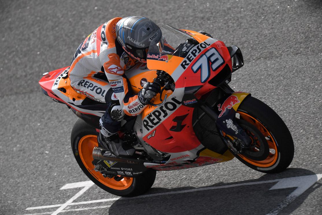 Álex Márquez pilotando la Honda en pista