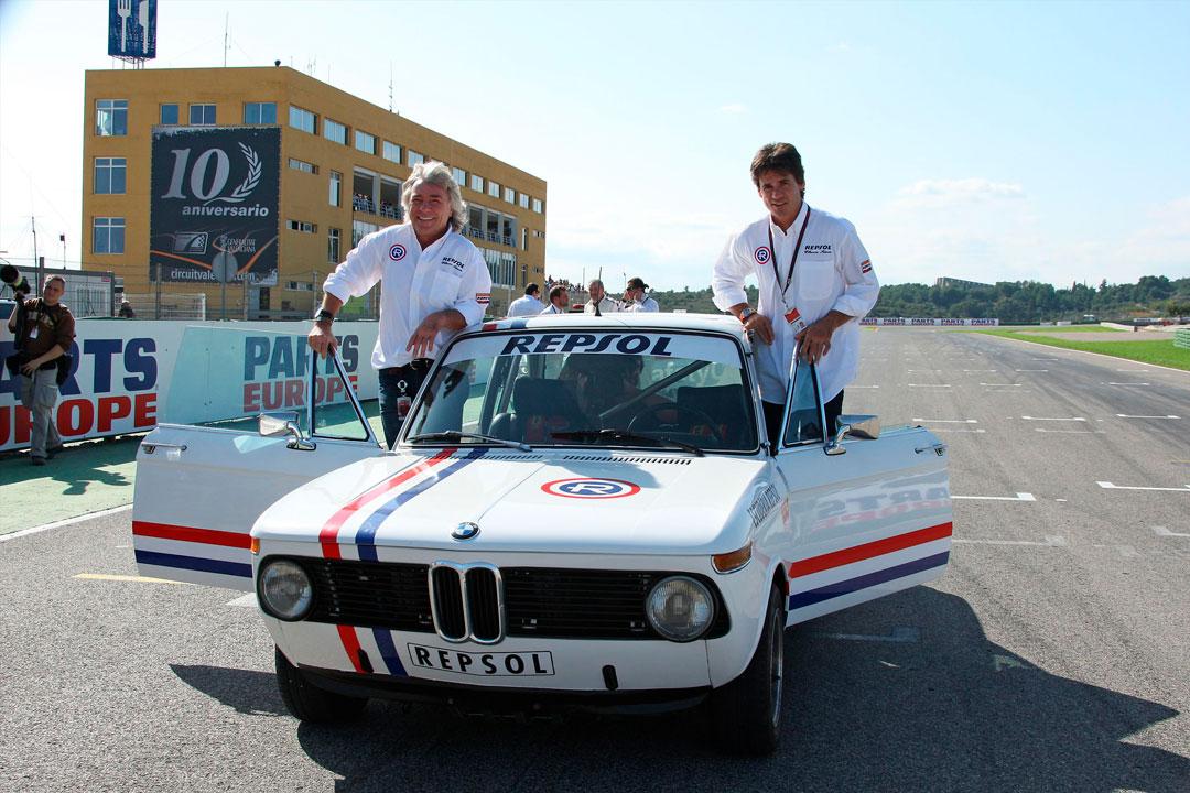ángel Nieto y Álex Crivillé en BMW clásico Repsol