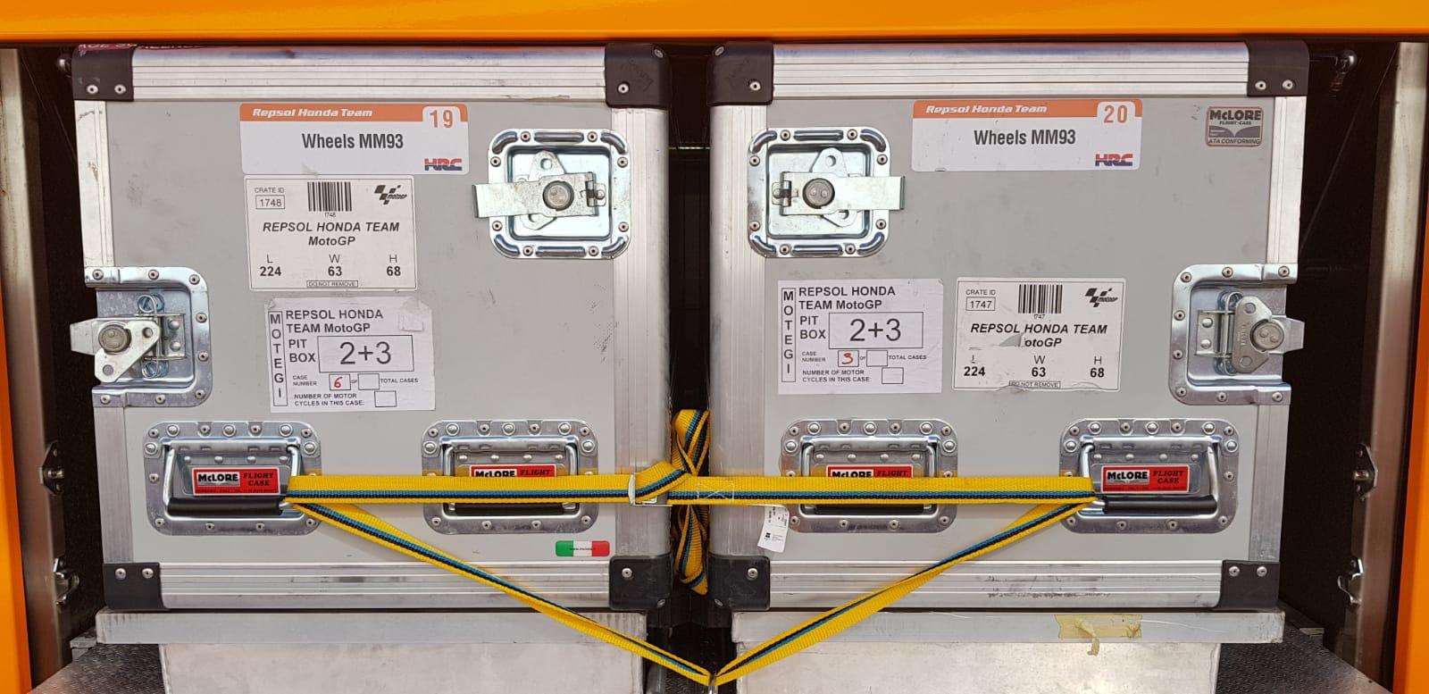 Cajas de transporte del equipo Repsol Honda