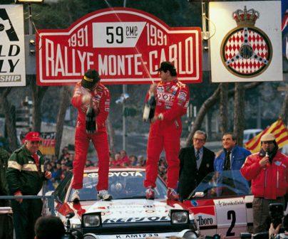 Carlos Sainz en 1991, gana el Rally Montecarlo