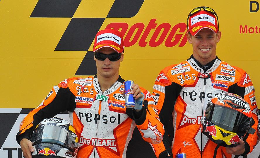 Equipo Repsol Honda con Casey Stoner y Dani Pedrosa