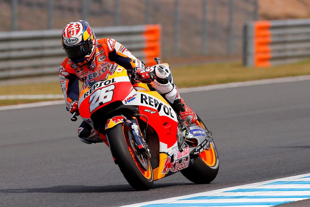 Dani Pedrosa rodando sobre su MotoGP Honda