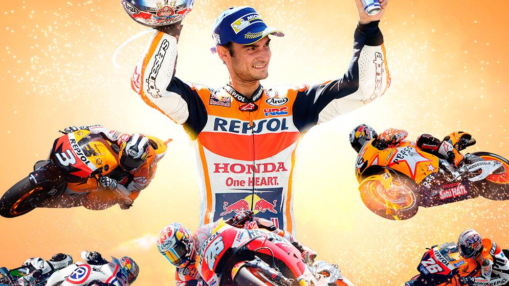 Fondo de pantalla Dani Pedrosa y motos de leyenda