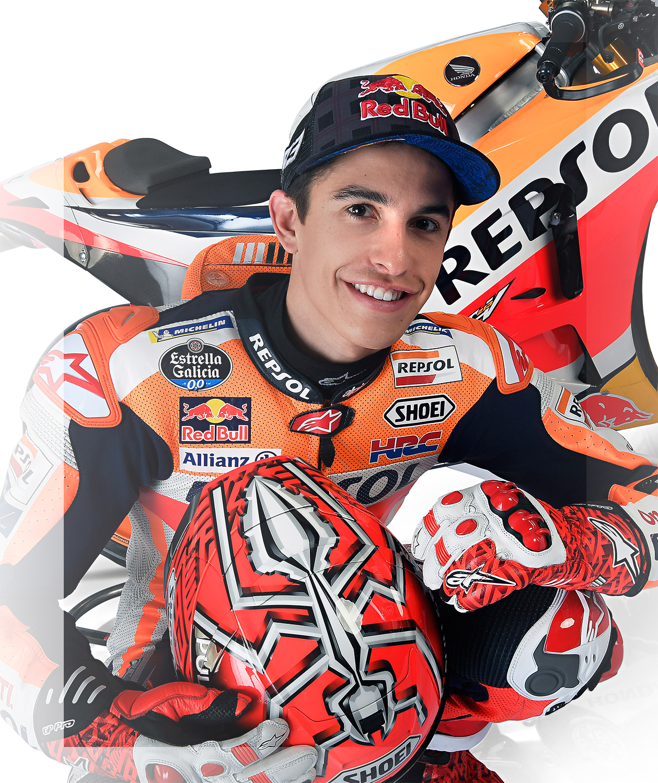 Marc Márquez posa junto a su moto