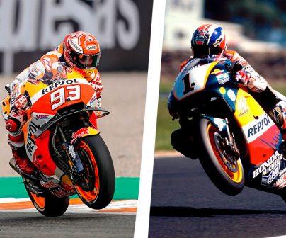 Marc Márquez y mick Doohan sobre sus motos