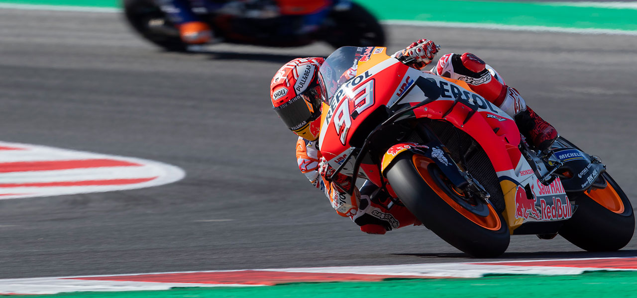 Marc Márquez third after opening day at Misano