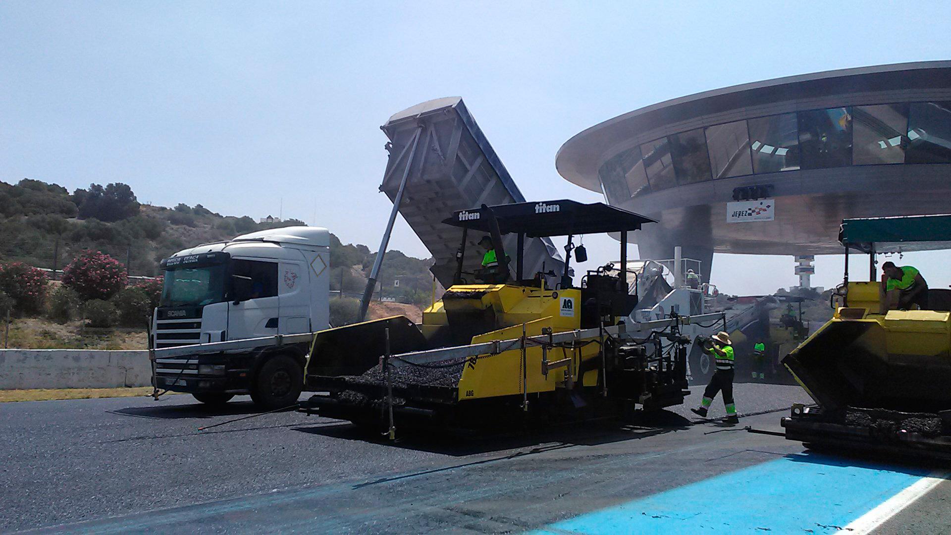 Reasfaltado en circuito de Jerez