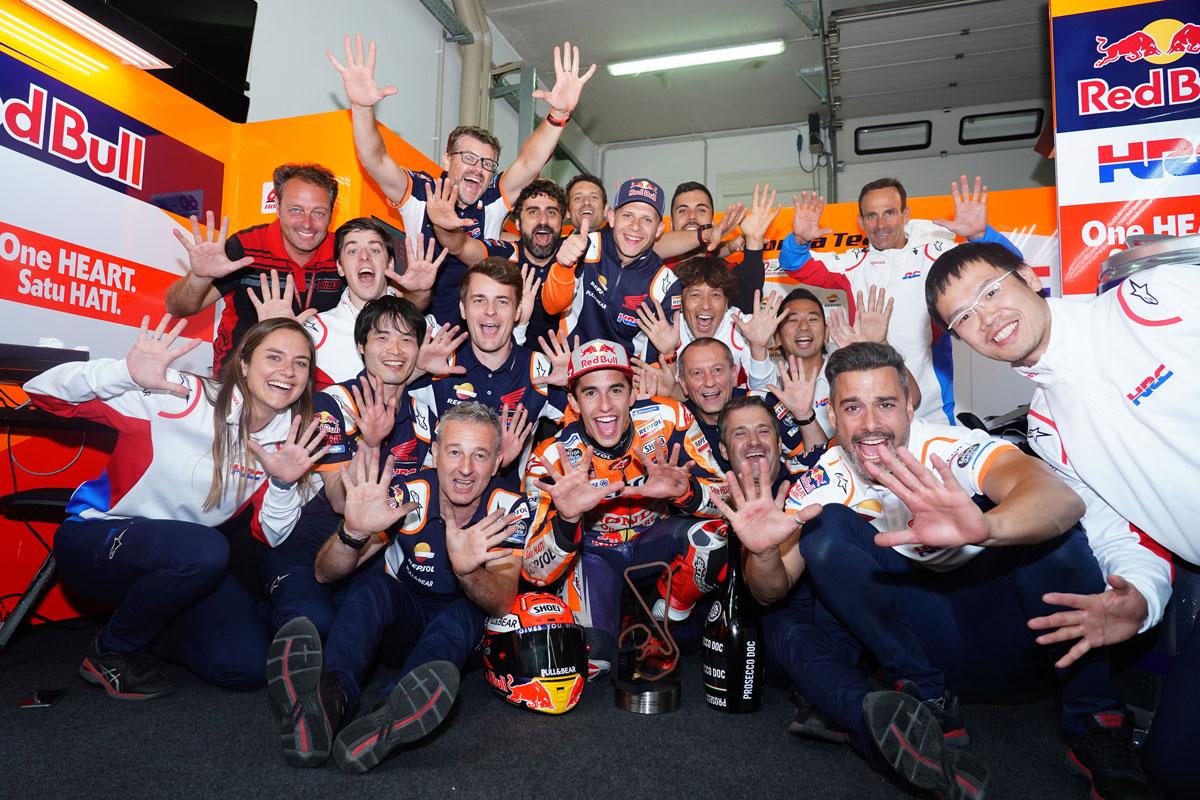 Marc celebra su 10ª victoria en el GP de Alemania.