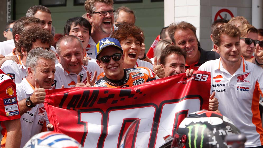 Podium for Marc Márquez in his 100th MotoGP race