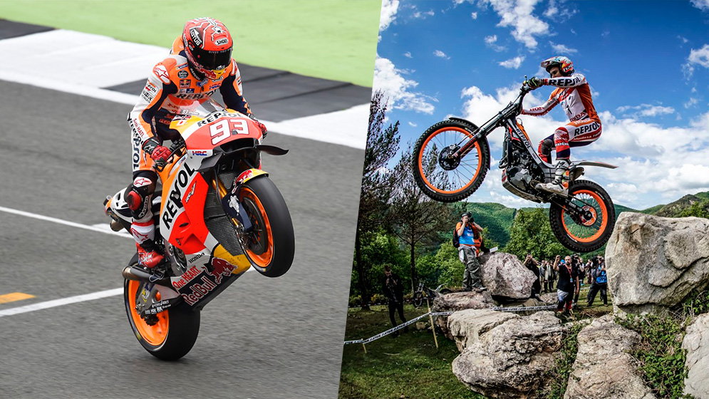 Marc Márquez and Toni Bou: two different ways of flying with a Honda