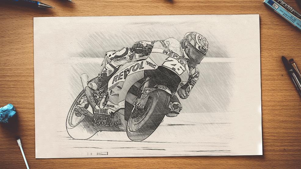 Dibujo a lápiz que ilustra el un quiz, test de motogp