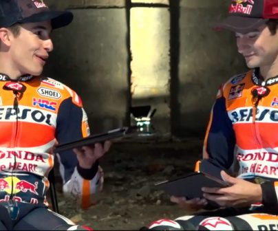 Marc Márquez and Dani Pedrosa during the AskMarcDani 2017 video shoting