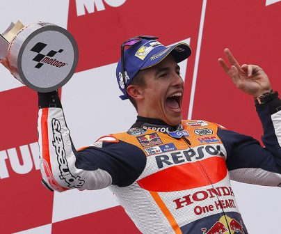 Marc Márquez at the Dutch GP podium