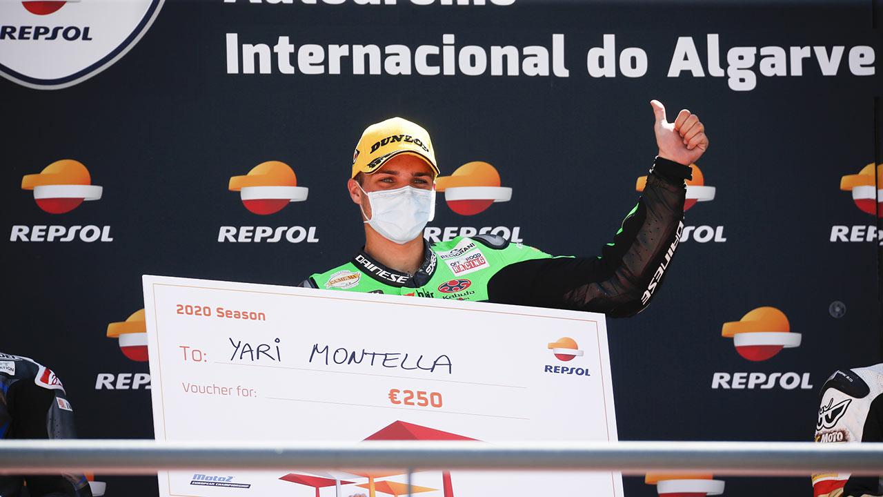 Yari Montella en el podio del Fim CEV Repsol 2020 en portimao