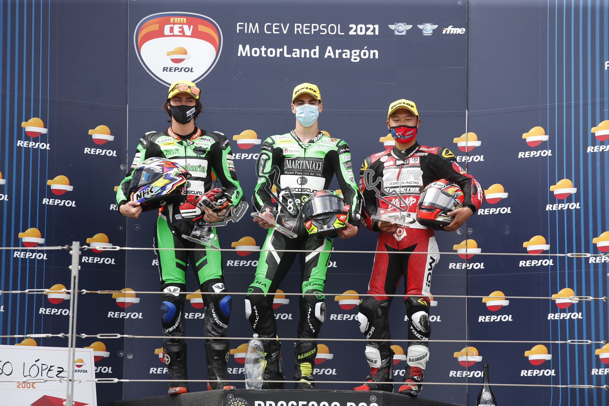Podio Moto2 FIM CEV Repsol - Fermín Aldeguer, Alonso López, Taiga Hada