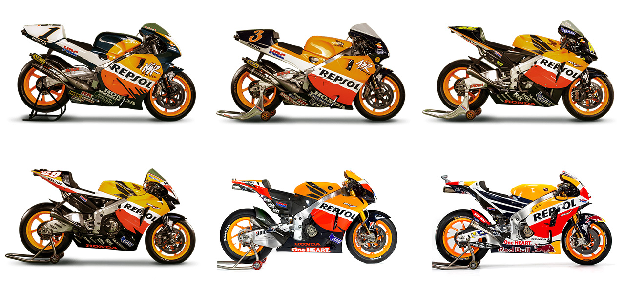 Download and colour in the six world champion motorbikes