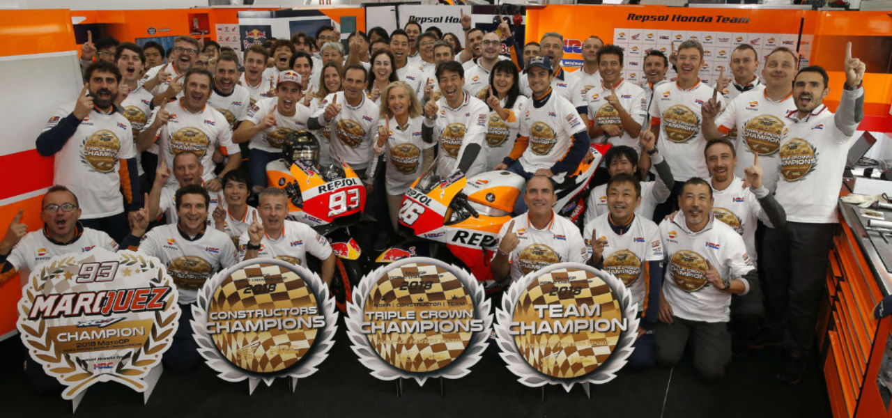 Pedrosa ends career with fifth place and Repsol Honda win the triple crown