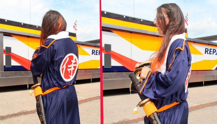 Vista trasera del kimono DIY de Dani Pedrosa hecho por una fan