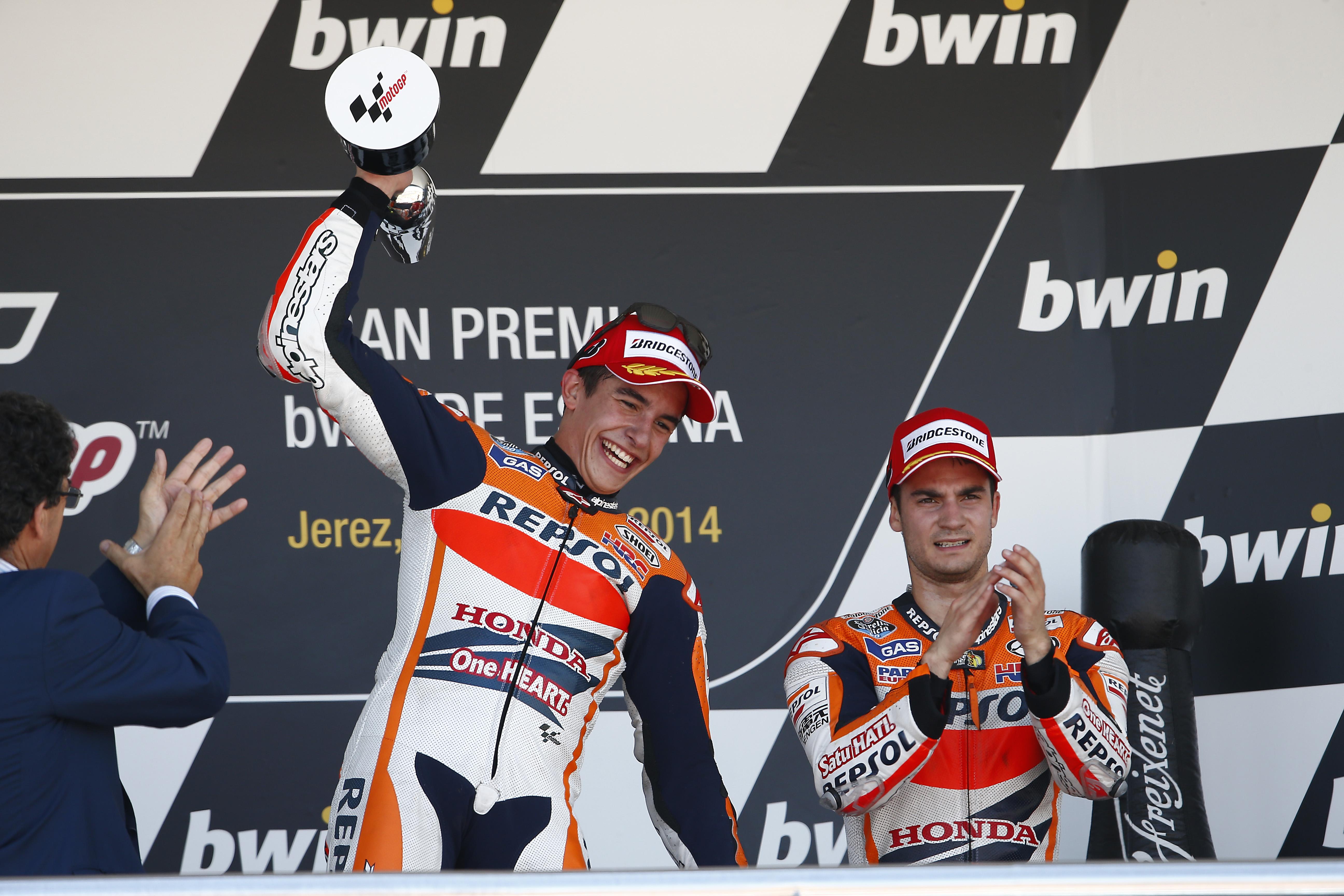 Marc Márquez y Dani Pedrosa en el podio en Jerez
