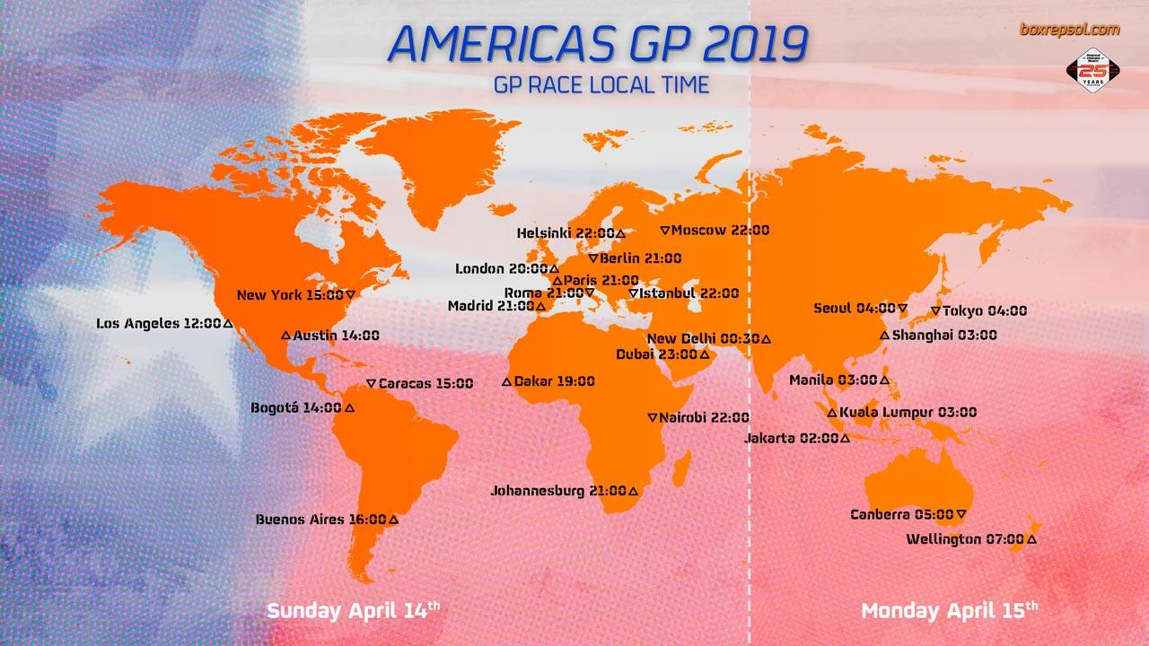 Mapa horarios MotoGP