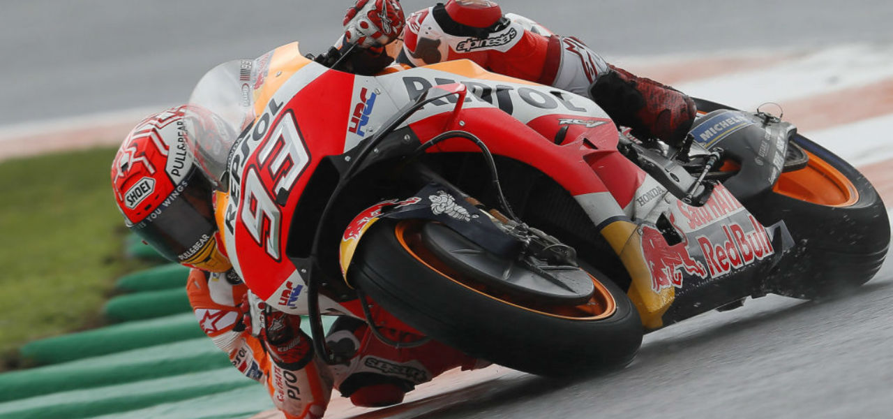 Márquez the fastest in the rain and Pedrosa finishes fifth