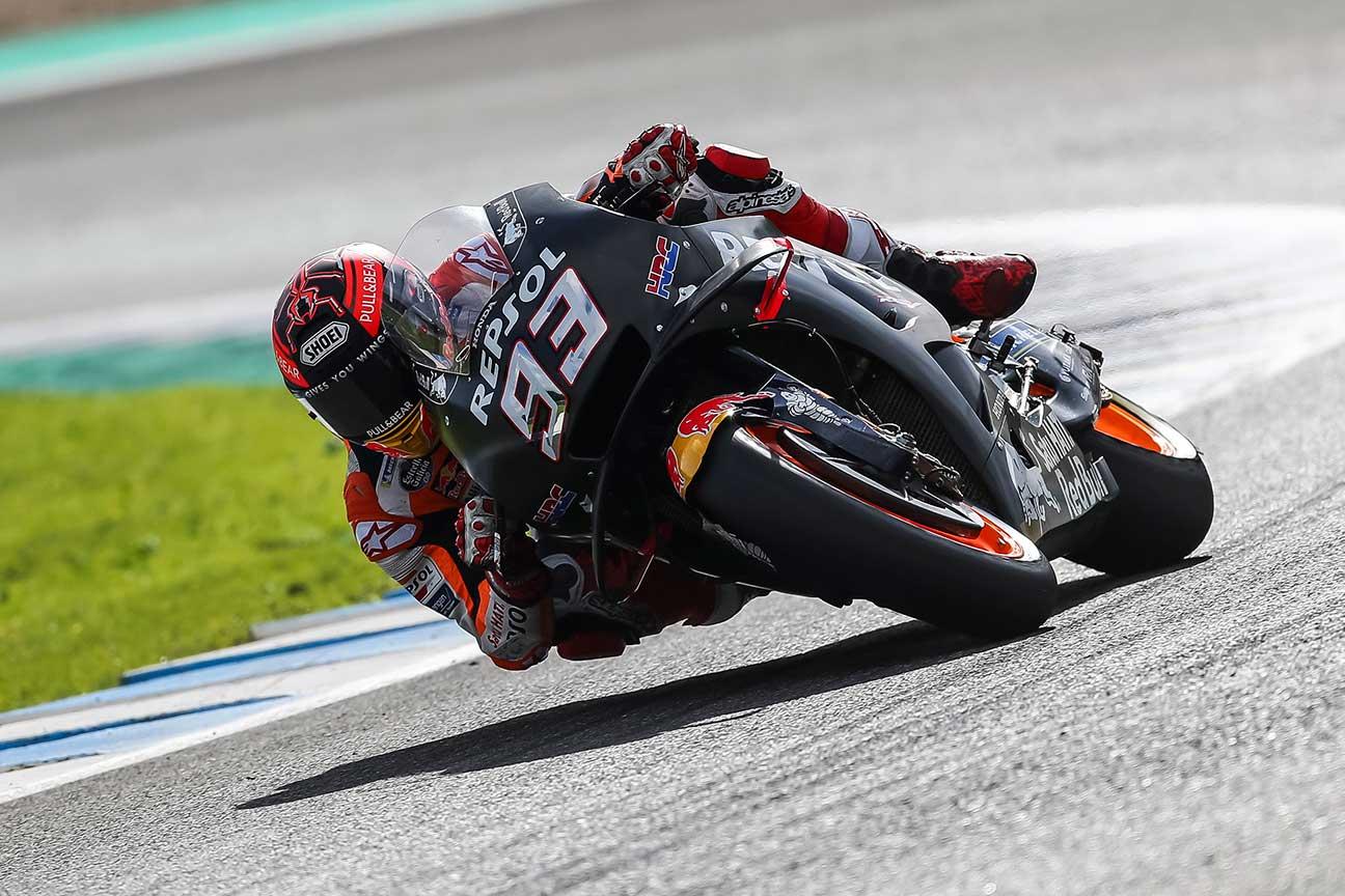 Marc Márquez en acción durante los entrenamientos de pretemporada en Jerez
