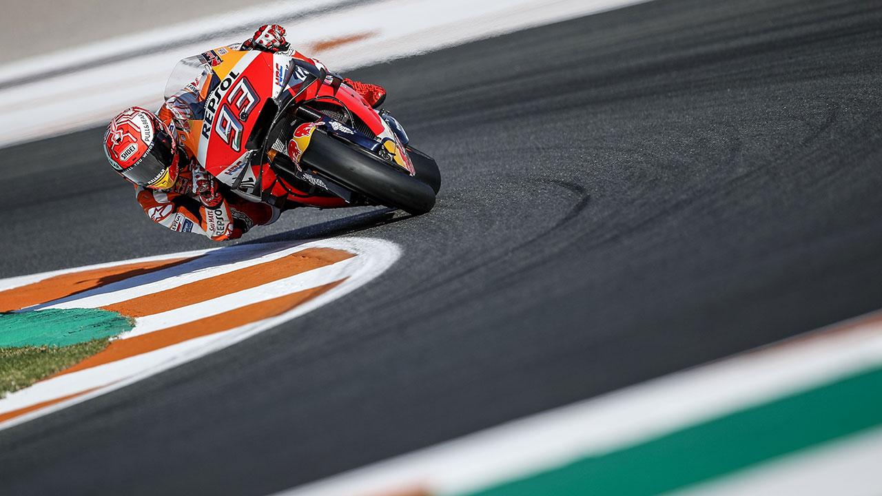 Marc Marquez derrapando la moto tecnica motogp
