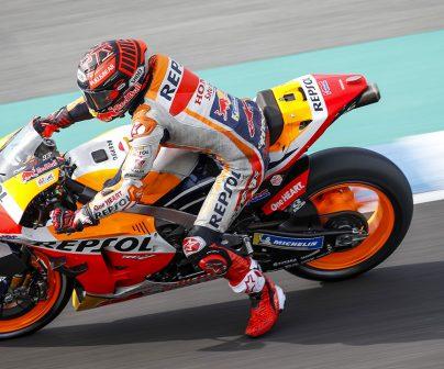 Marc Marquez usando tecnicas de pilotaje motoGP