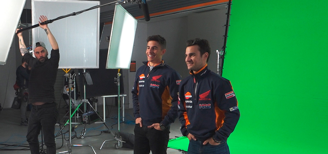 Marc Márquez and Dani Pedrosa star in front of the cameras