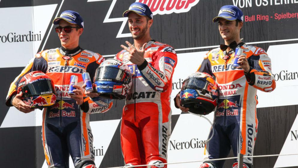 Doble podio de Márquez y Pedrosa en Austria