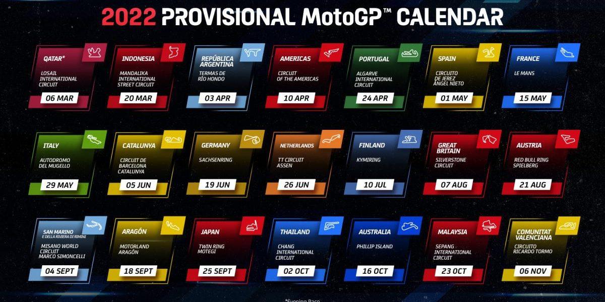 Anunciado el calendario provisional de MotoGP para 2022