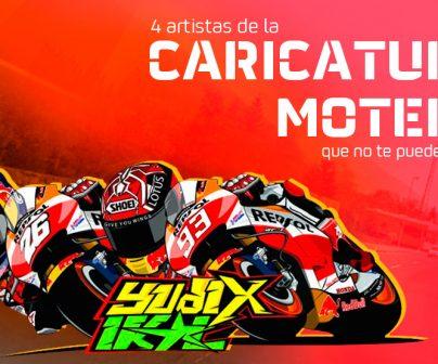 Caricatura de Marc Márquez y Dani Pedrosa sobre sus motos con grafiti
