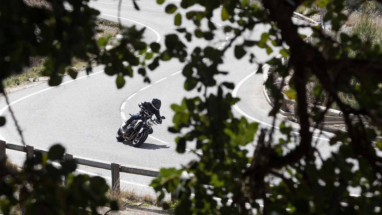 Piloto en moto por una carretera