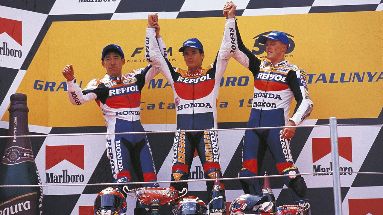 Triplete del Equipo Repsol Honda en el GP de Cataluña de 1999. Álex Crivillé, Tadayuki Okada y Sete Gibernau