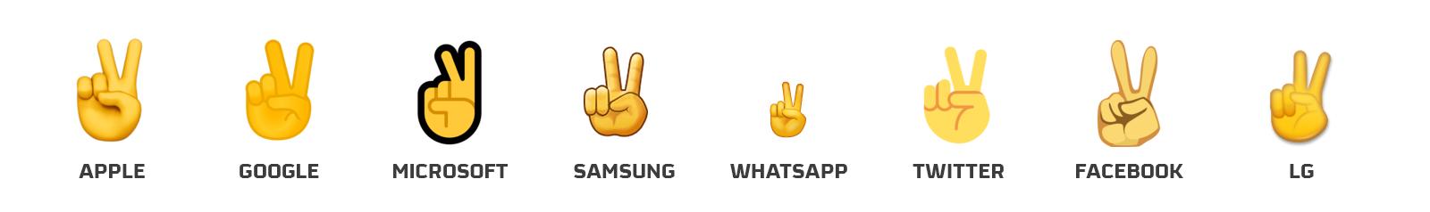 emoji saludo en V
