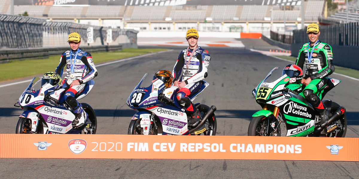 Izan Guevara, Yari Montella and David Alonso crowned 2020 FIM CEV Repsol Champions