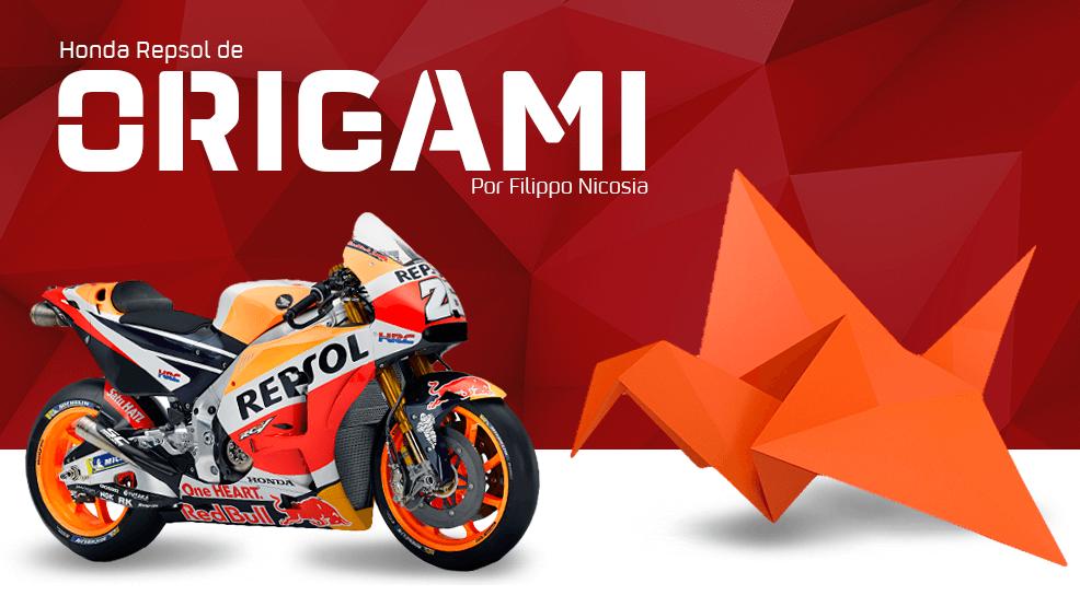 Filippo Nicosia y su Honda Repsol construida con origami