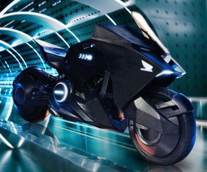Honda futurista nm4 vultus en un túnel de viento futurista