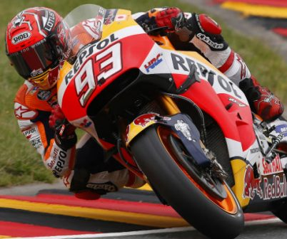 Marc Márquez leaning the rc213v on sachsenring